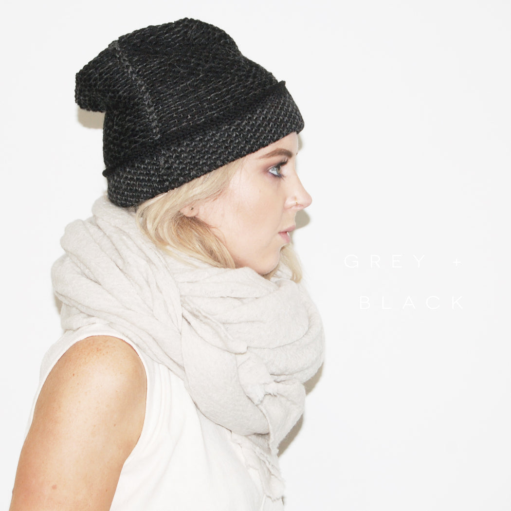 Kordal:Seed Stitch Beanie,grey + black