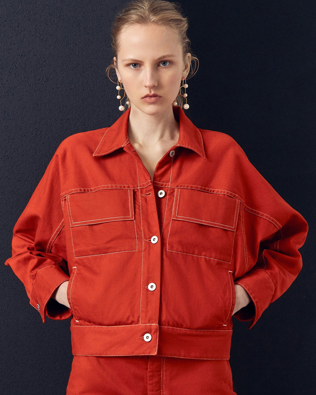 KOWTOW:Boxy Denim Jacket – Brick Denim,ANOMIE