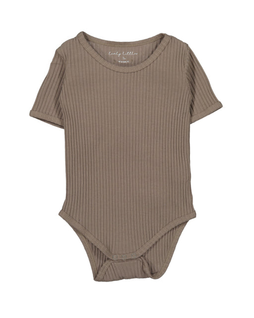 Ribbed Short Sleeve Onesie – Taupe