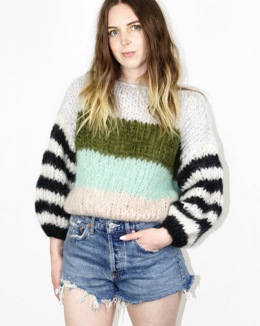 Mohair Big Striped Sweater – Greenish Stripes