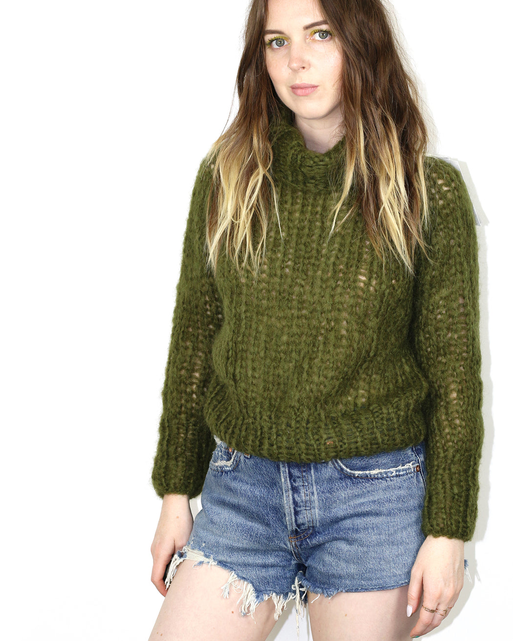 Maiami:Short Turtleneck Sweater,extra-small | SOLD OUT / moss green