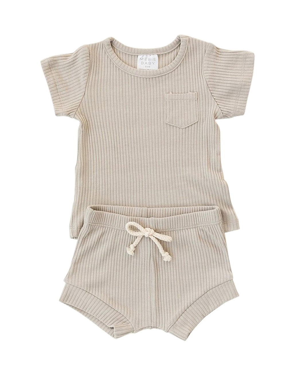 Ribbed Pocket Tee + Shorts Set – Oatmeal