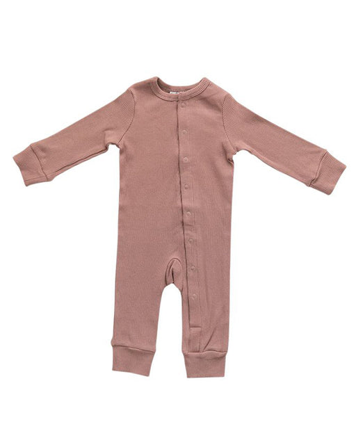 Ribbed Footless One Piece – Dusty Rose