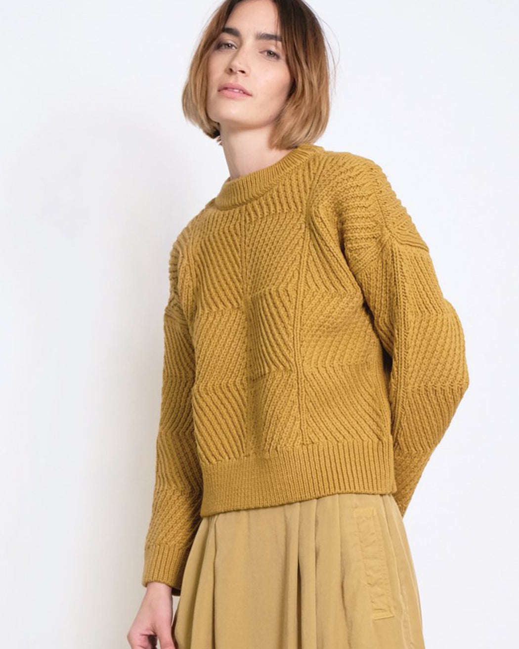 Micaela Greg:Bevel Sweater – Ochre,ANOMIE