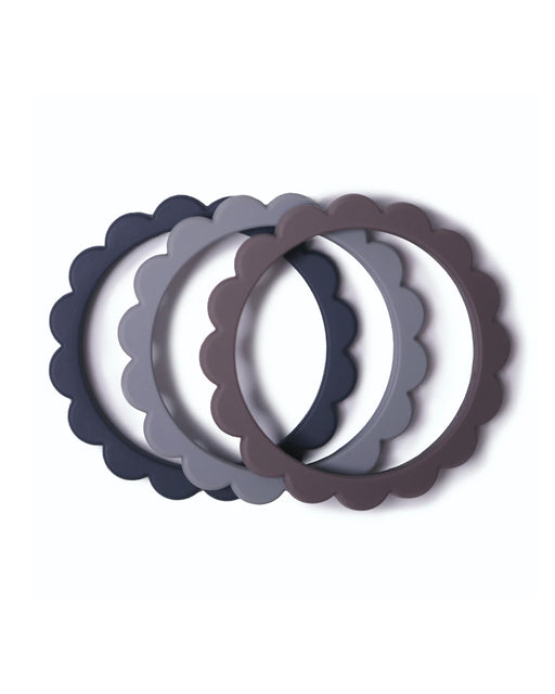Flower Teething Bracelet 3-Pack – Steel + Dove Gray + Stone