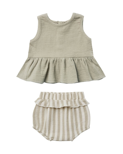 Sleeveless Peplum Set – Sage Stripe