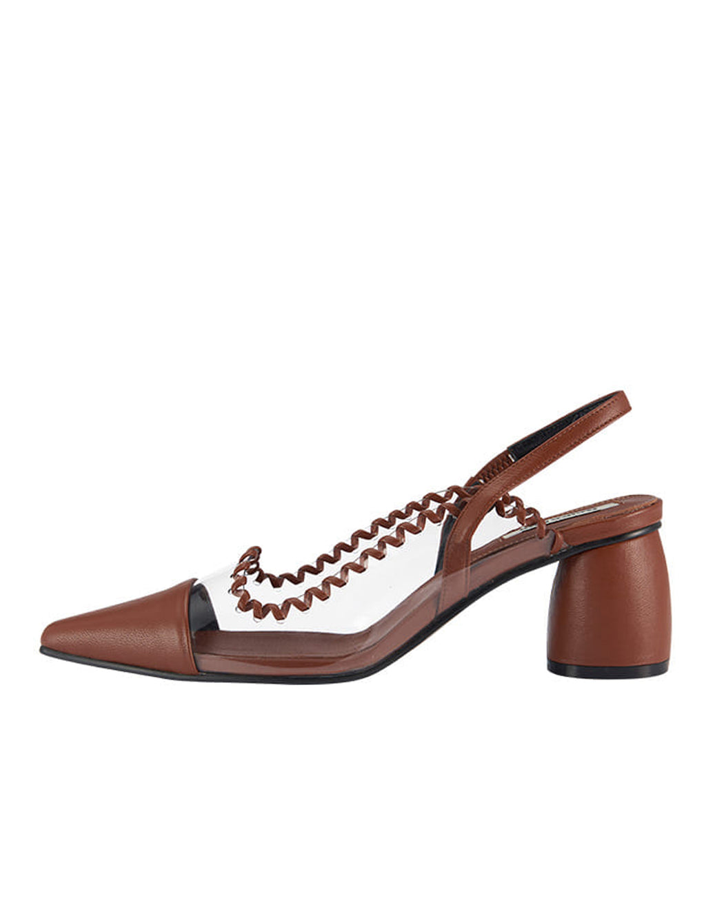 Reike Nen:PVC Curved Middle Slingback – Clear + Brown,ANOMIE