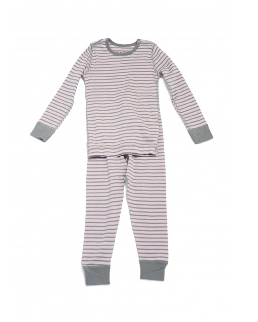 Long Sleeve Pajamas – Pink Gray Stripe