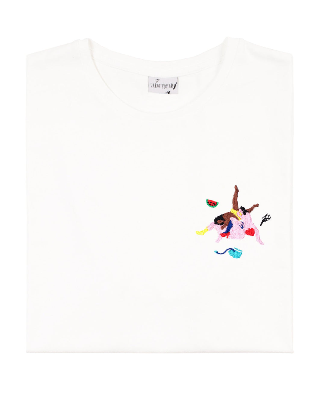 Carne Bollente:The Third Bi-Mension – Embroidered T-Shirt,white / small