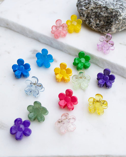 Mini Glossy Flower Hair Clip – Assorted Colors