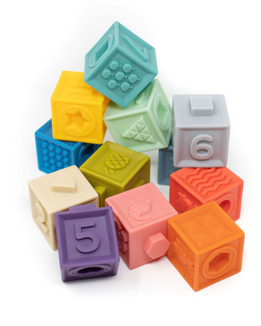 Building Block Teether + Bath Toy – Primary Colors