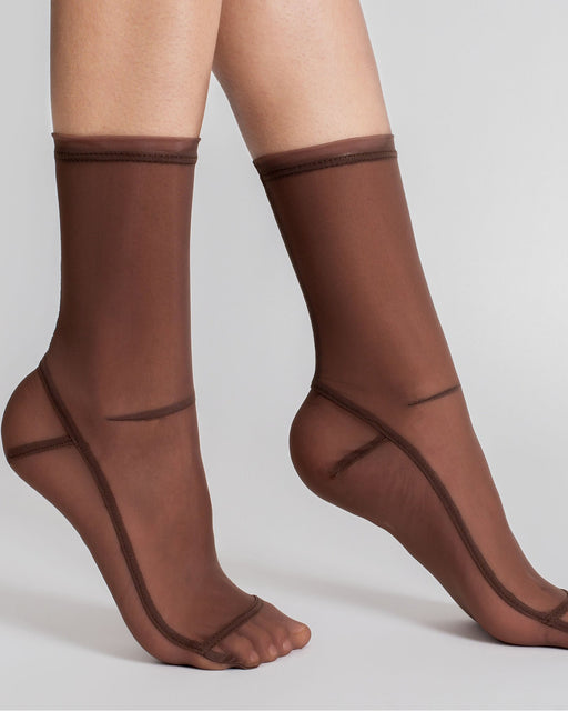 Darner:Solid Brown Mesh Socks,ANOMIE