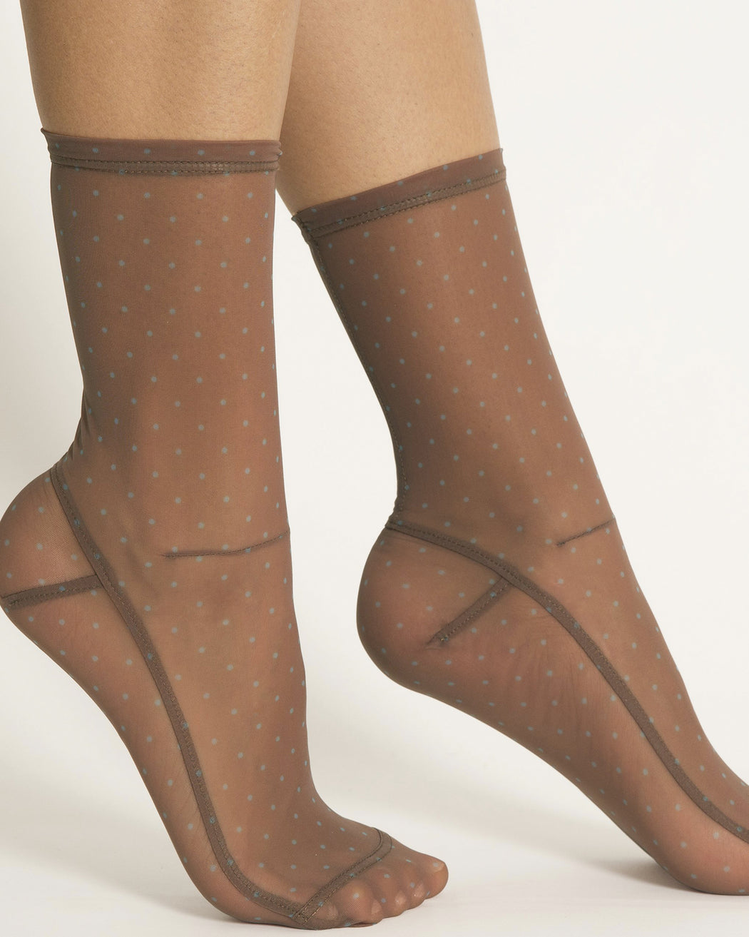 Darner:Mocha with Powder Blue Mini Dots Mesh Socks,ANOMIE