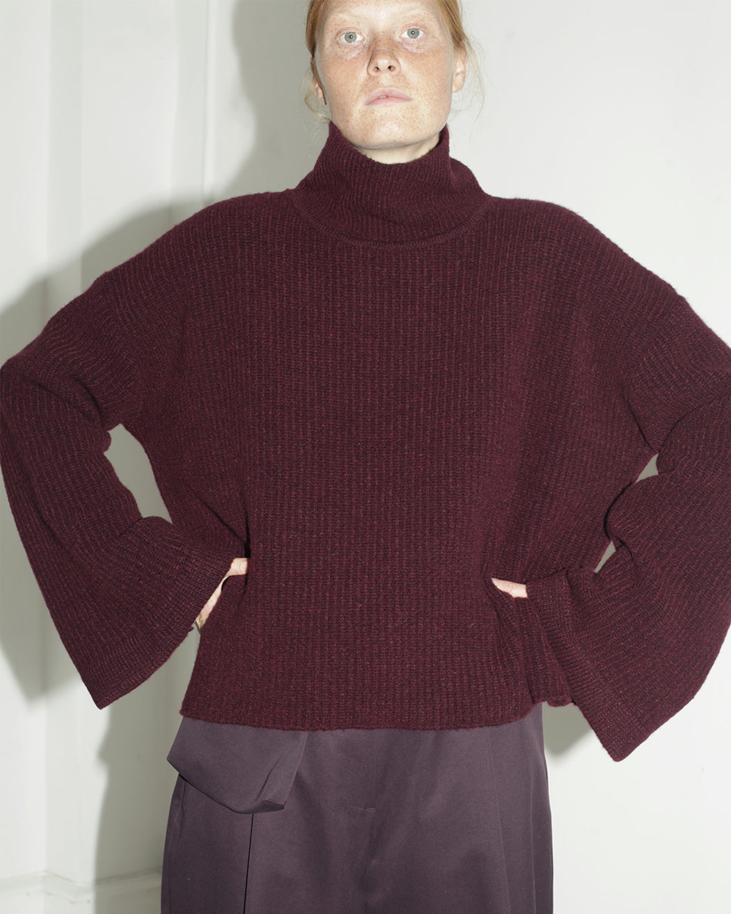 Mr. Larkin:Elodie High-Neck Sweater – Raisin,ANOMIE