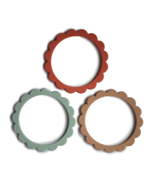 Flower Teething Bracelet 3-Pack – Cambridge Blue + Clementine + Natural