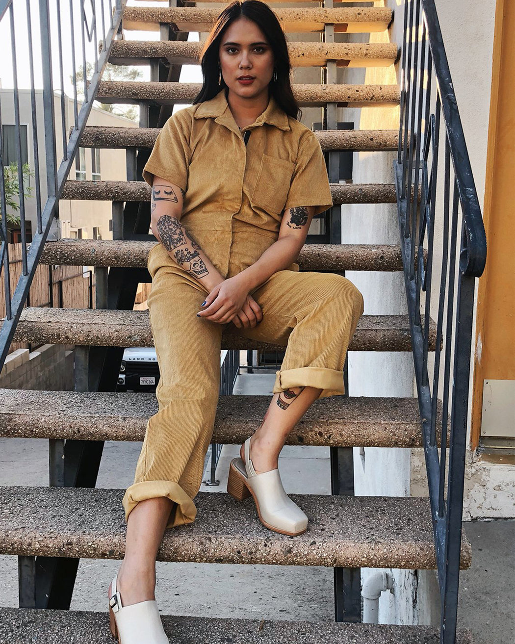 NOOWORKS:Mustard Corduroy Coveralls,ANOMIE