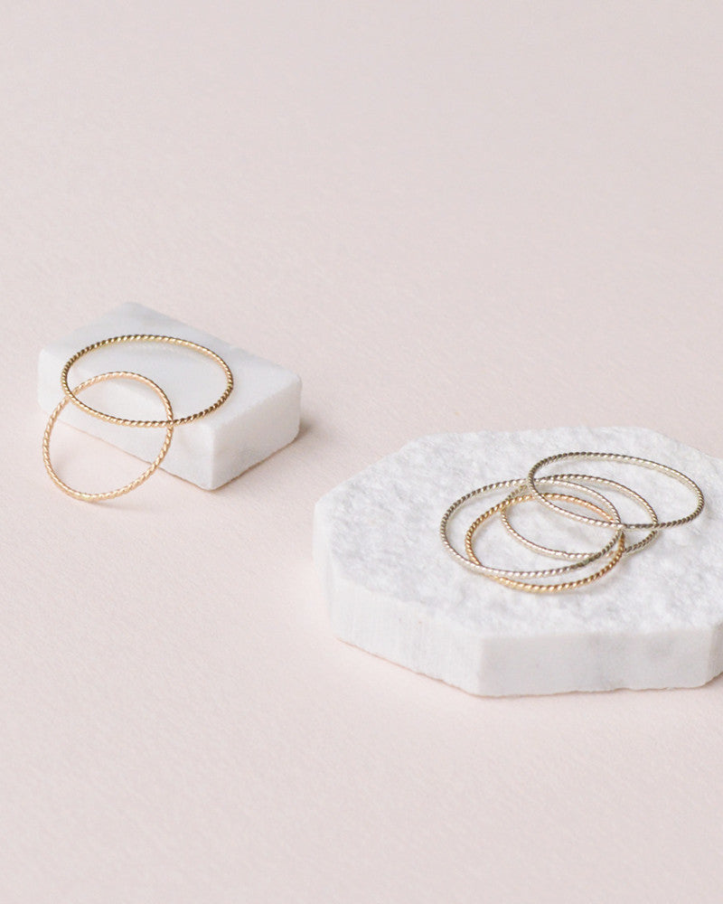 Fresh Tangerine:twisted stacking ring,ANOMIE