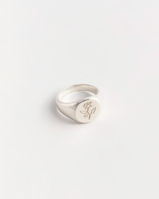Rose Signet Ring – Sterling Silver