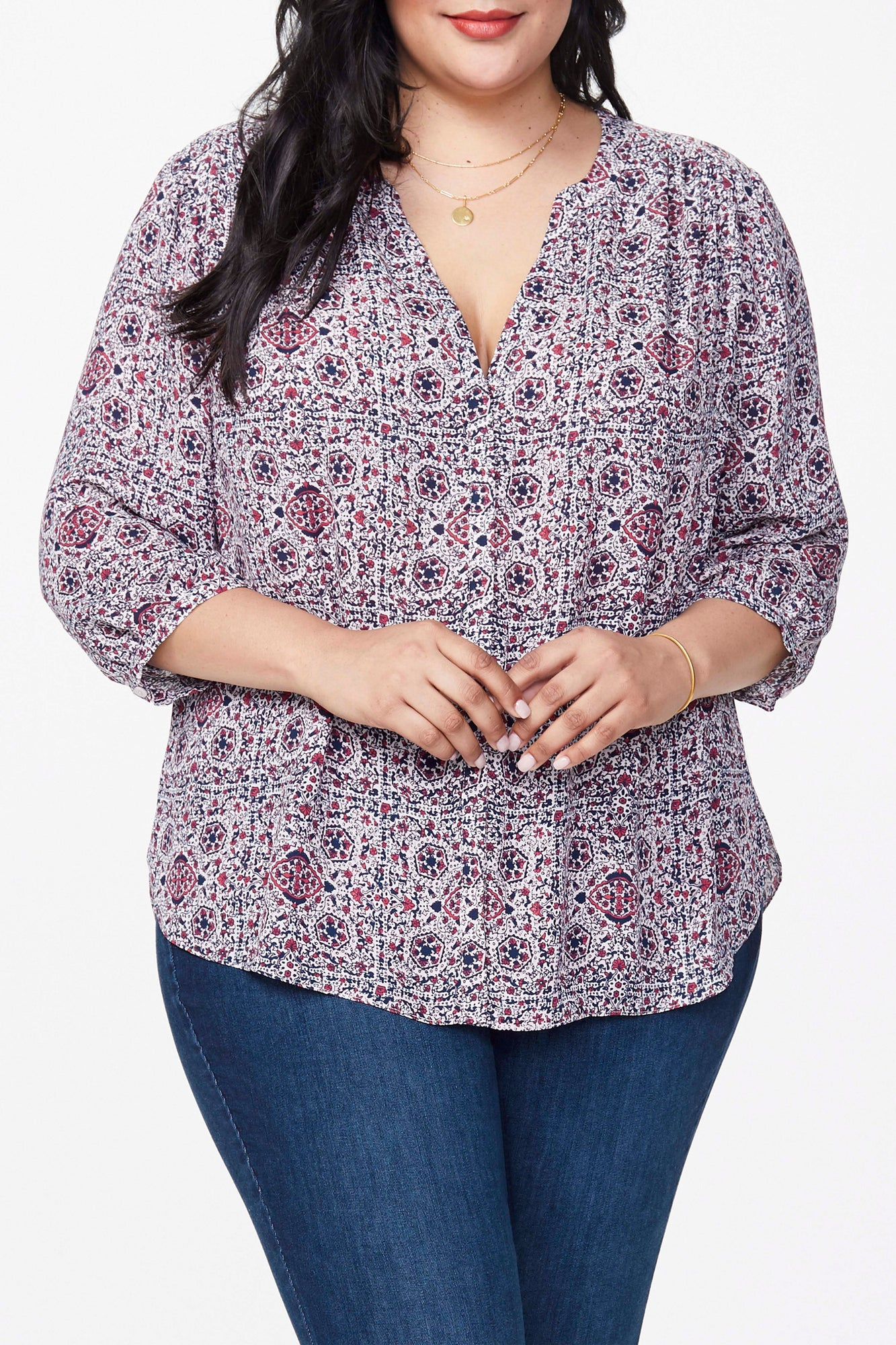 Pintuck Blouse In Plus Size - MOSAIC PINK DUSK