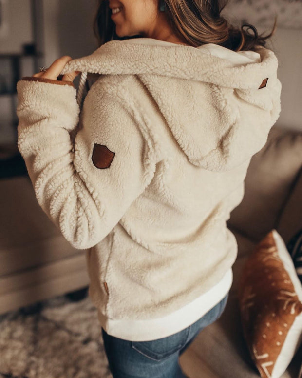 Wool cream zipper Hoodie sweater