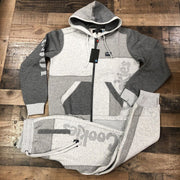 Fashionable grey color contrast cookies printed warm Hoodie suit