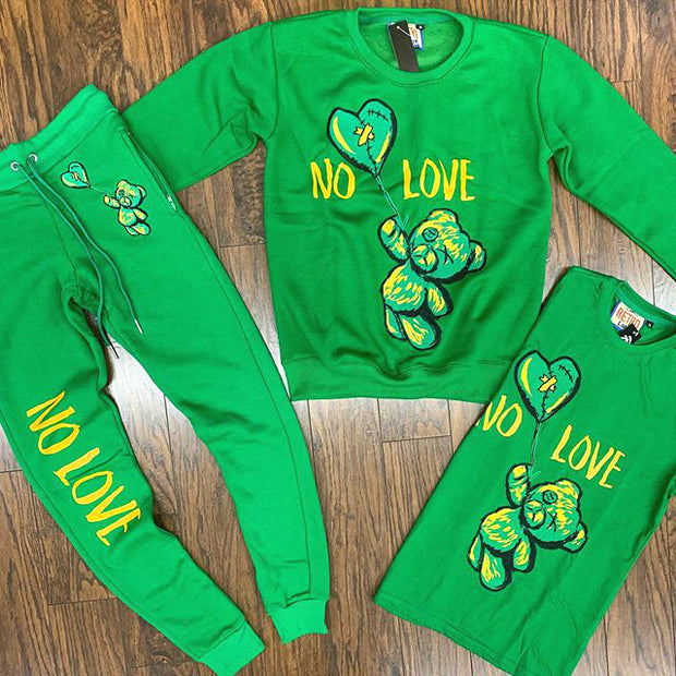 NO LOVE heartbroken bear sweatshirt 2pcs set