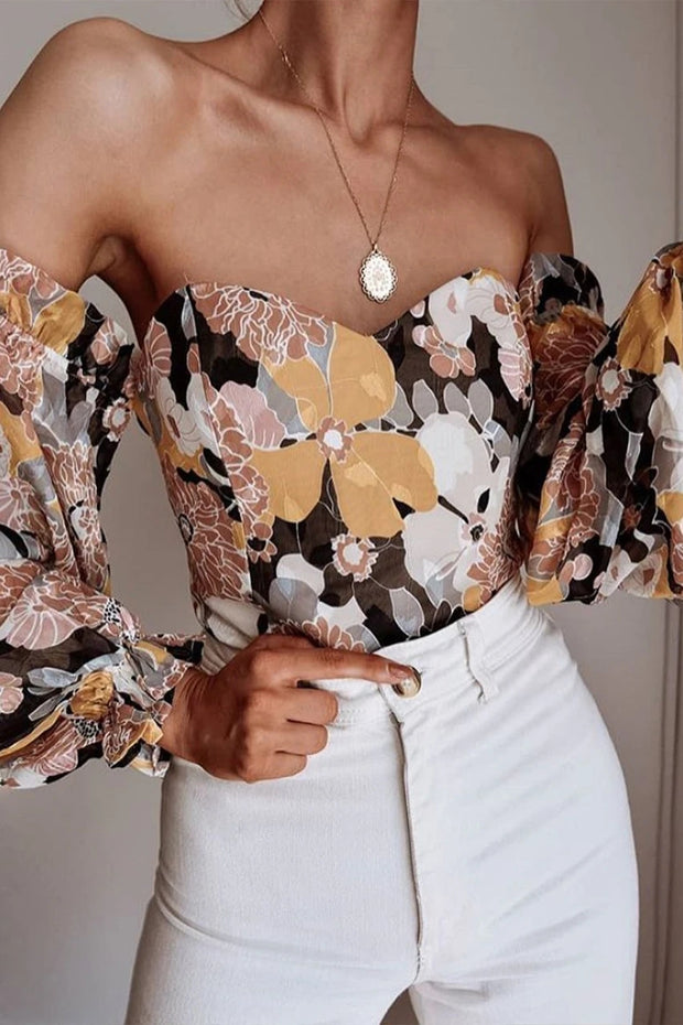 Off the shoulder floral print sexy blouse