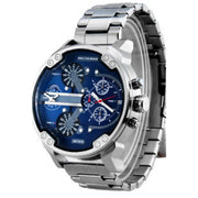 Large Dial Dual Time Zone Men's Watch