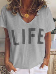 V-neck letter printed short sleeve T-shirt women's top