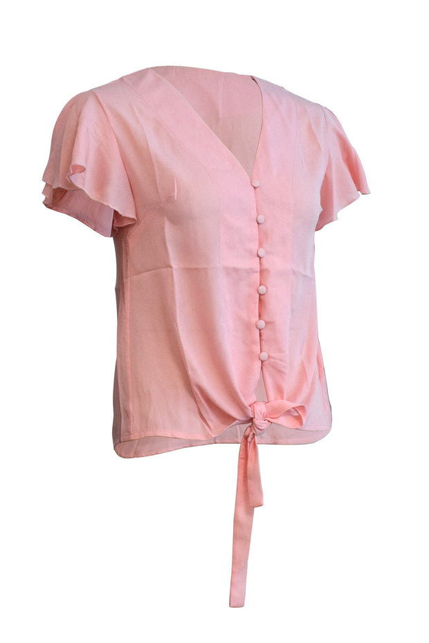 V-neck Ruffle Sleeve Chiffon Shirt Short Sleeve Shirt