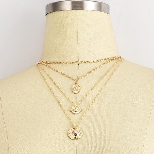 Alloy eclipse coin multi-layer Necklace