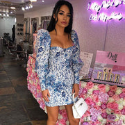 Fashionable printed bubble hip dress