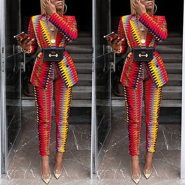 Two-piece color-block print slim suit