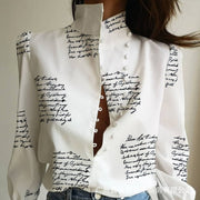 Letter print button design women shirt