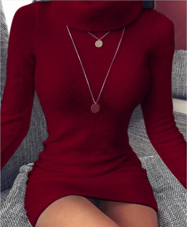 Casual long sleeve high collar wool dress