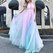 Gradient color dark V dress long skirt big swing skirt