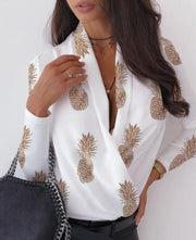 Women V neck elegant blouse