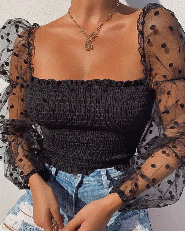 Mesh square neck design sexy blouse