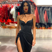 Solid color slit sling sexy slim dress