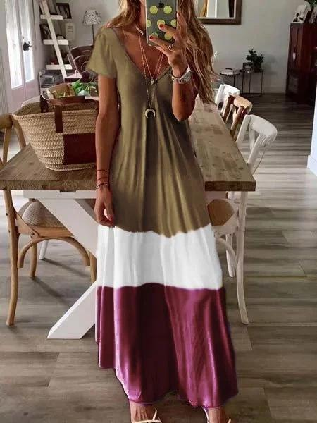Bohemian large color block short sleeve long dress