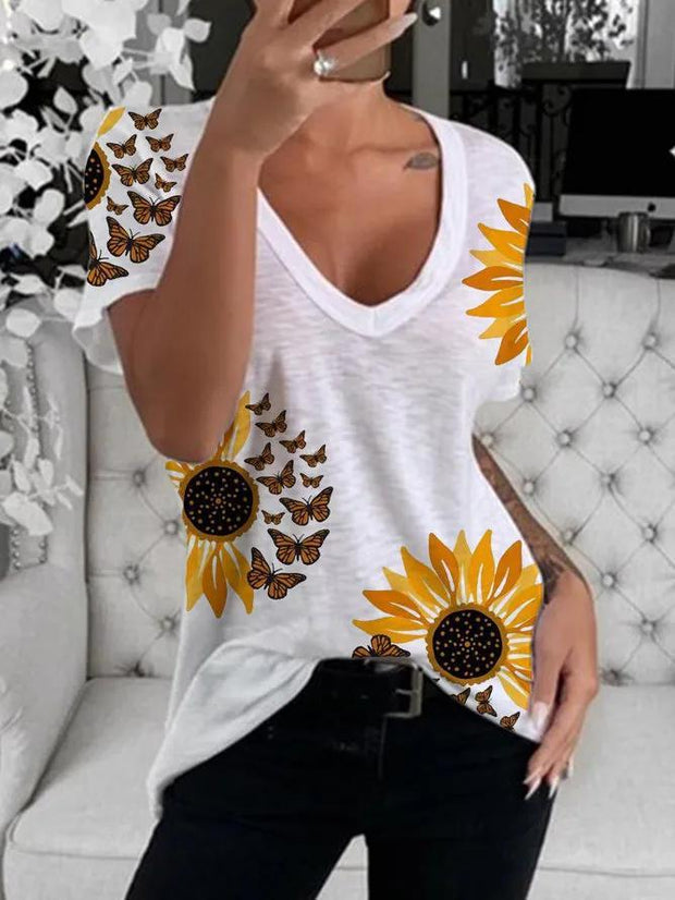 Sunflower print short sleeve round neck women's T-shirt