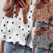 Star print ruffle design V-neck blouse