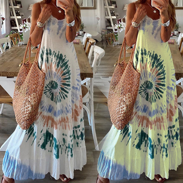 Printed sleeveless loose casual vest dress