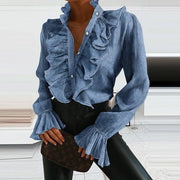 Ruffled leader solid casual shirt