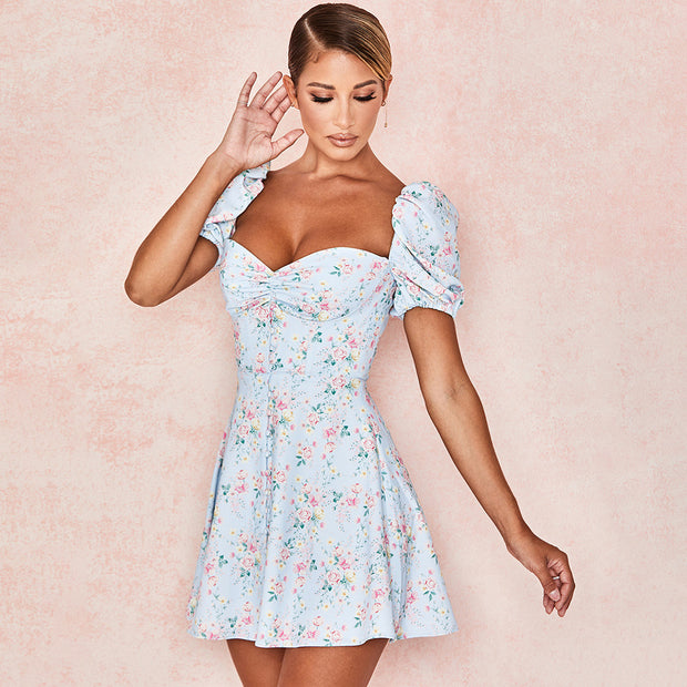 Flower wrapped chest princess sleeve open back slim dress