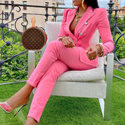 Lapel buttoned straight-leg pants casual suit