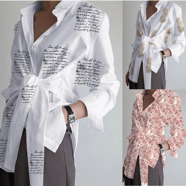Women's long sleeve funny printed loose bandage shirt