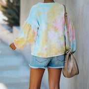 Trend tie dye loose Pullover long sleeve sweater