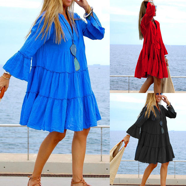 Women's loose cotton linen patchwork dress