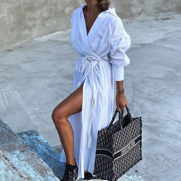 A fashionable shirt dress with waistband